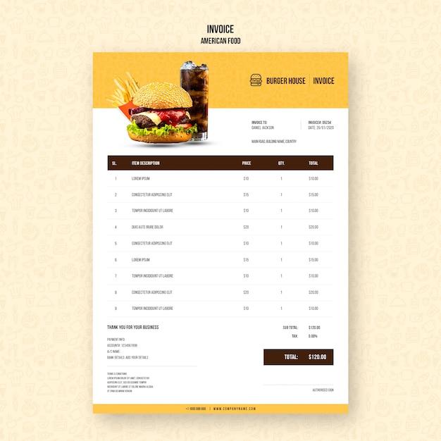 Шаблон счета-фактуры американской кухни Бесплатные Psd