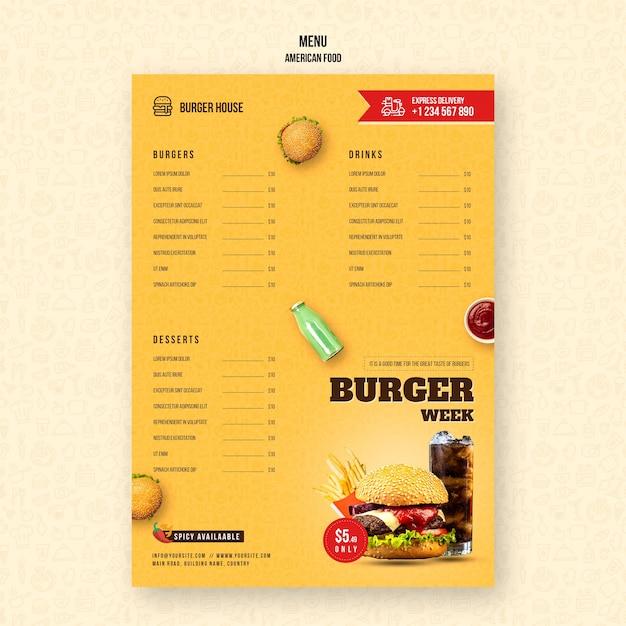 Шаблон меню американской кухни Бесплатные Psd