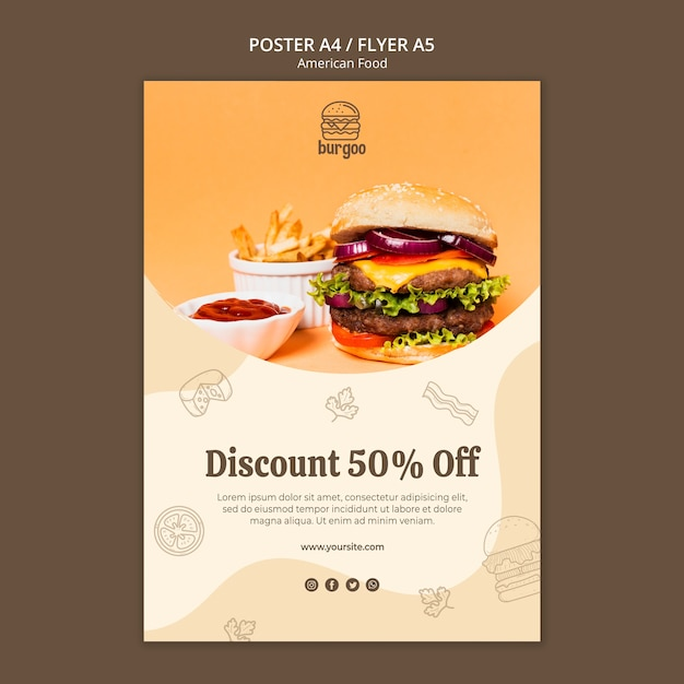 American food poster template concept Free Psd