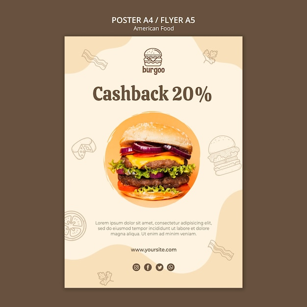 American food poster template Free Psd