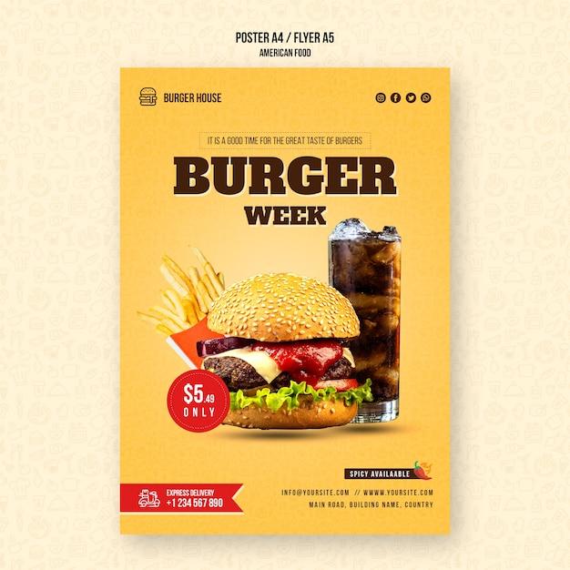 Американская еда плакат шаблон Бесплатные Psd
