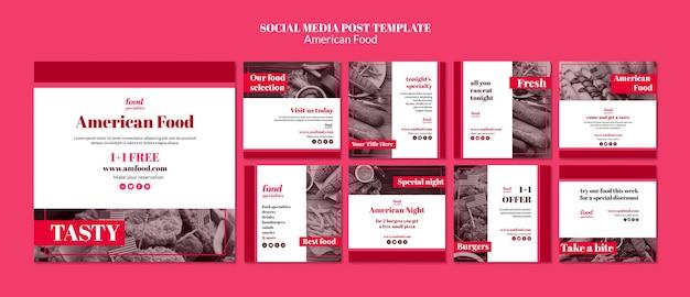 Modello di social media cibo americano Psd Gratuite