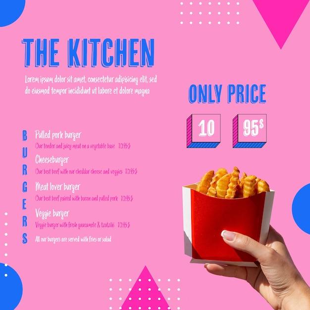 American food tasty menu template Free Psd