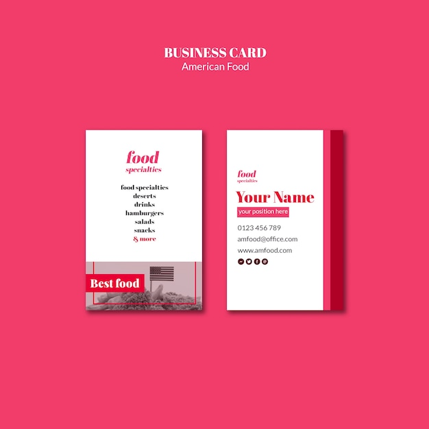 American food template business card Free Psd