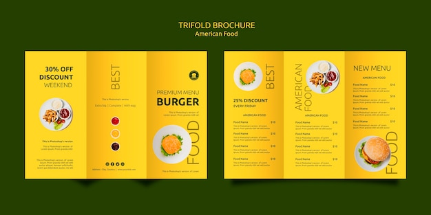 American food trifold brochure template Free Psd