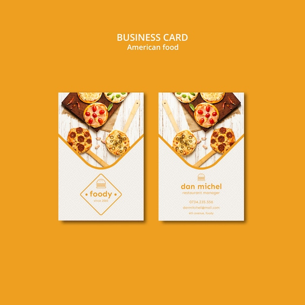 American food vertical business card template Free Psd