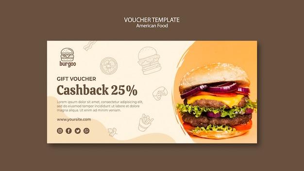American food voucher template Free Psd
