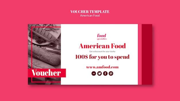 Modello di buono cibo americano Psd Gratuite