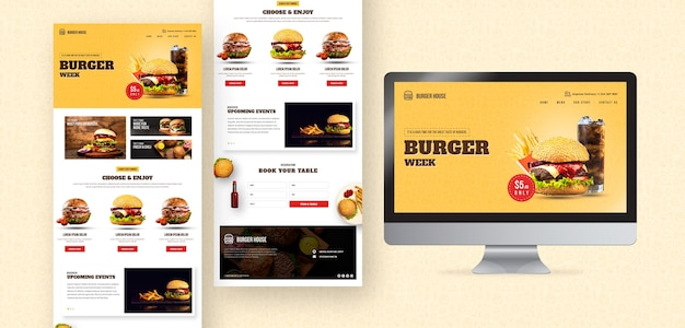 American food website and app template Free Psd