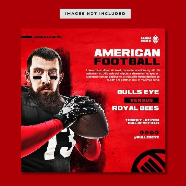 American football instagram post template Premium Psd