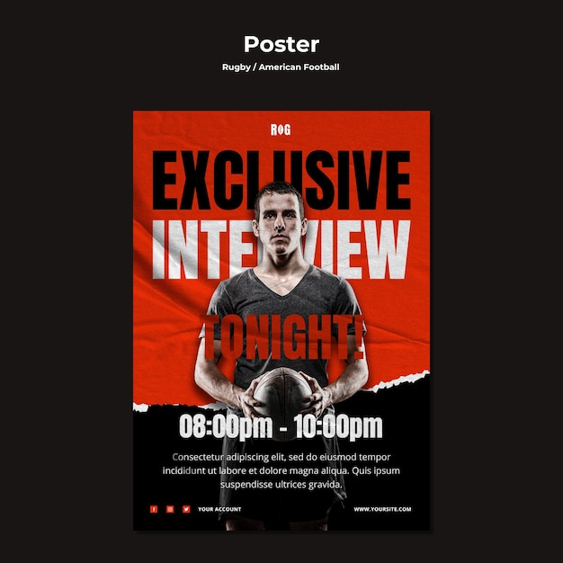 Шаблон плаката американского футбола Бесплатные Psd