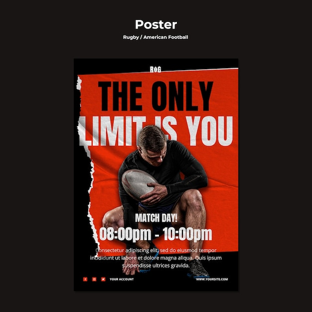 American football poster template Free Psd
