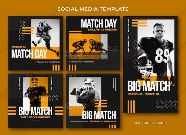 American football social media post bundle template Premium Psd