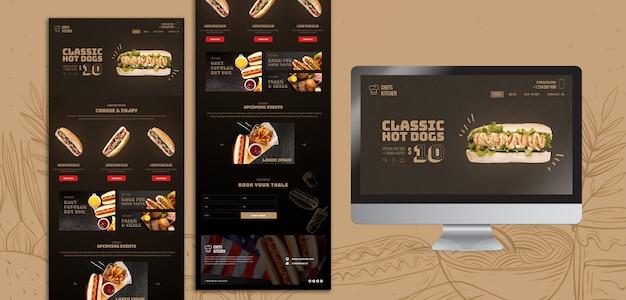 Modello di landing page americano di hot dog Psd Gratuite