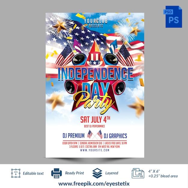 Американский день независимости party photoshop шаблон флаер Premium Psd
