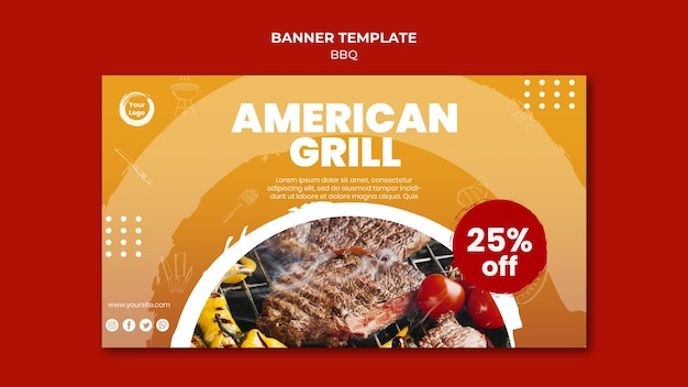 American meat grill banner template Free Psd