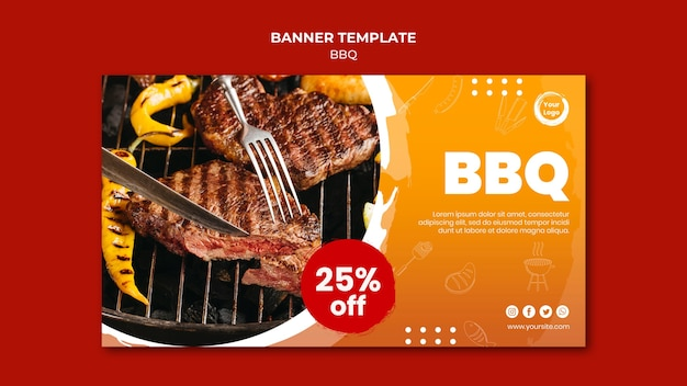 American meat grill and fork banner template Free Psd