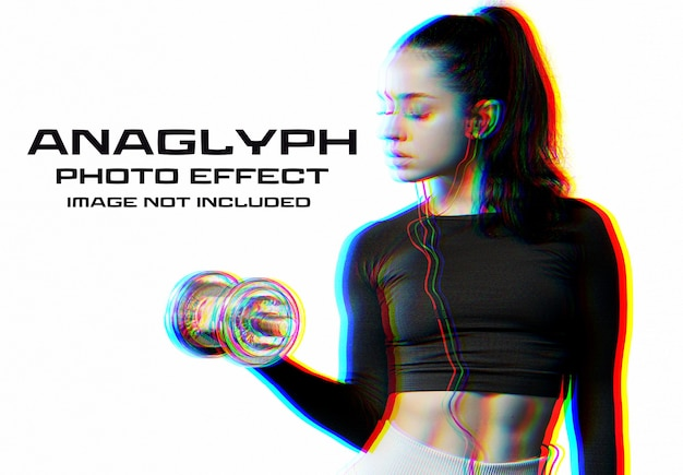 Anaglyph glitch photo effect mockup Premium Psd