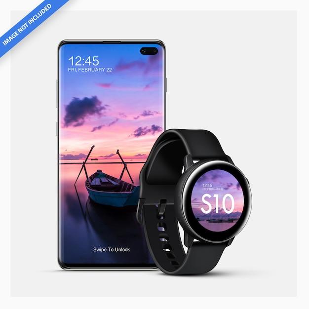 Макет смартфона android со смарт-часами Premium Psd