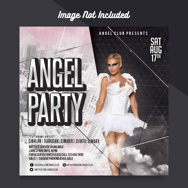 Angel party flyer template Premium Psd