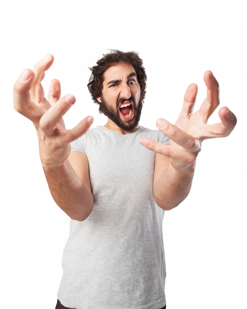 Angry man with crooked fingers Free Psd