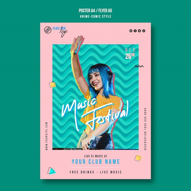 Anime-comic style music festival flyer template Free Psd