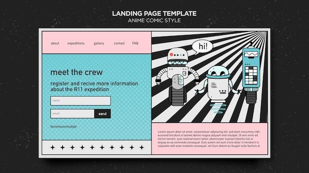 Anime comic style template landing page Premium Psd