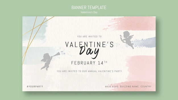 Annual valentine's day party invitation with angels Free Psd