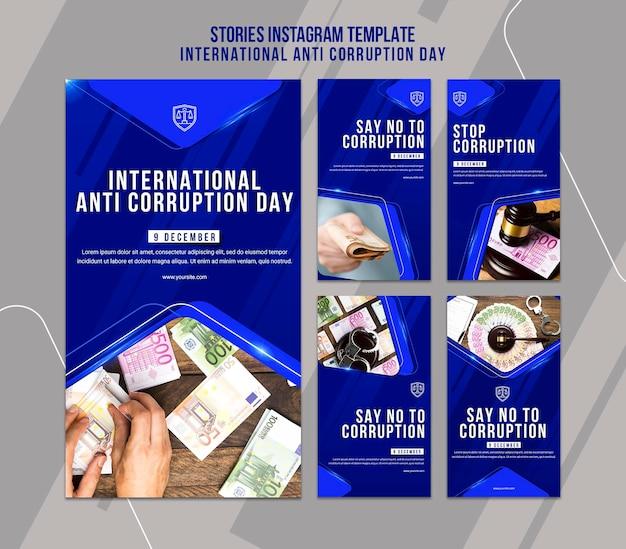 Anti corruption day instagram stories template Premium Psd