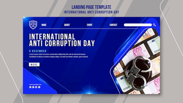 Anti corruption day landing page template Premium Psd