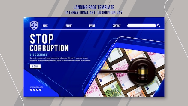 Anti corruption day landing page template Free Psd