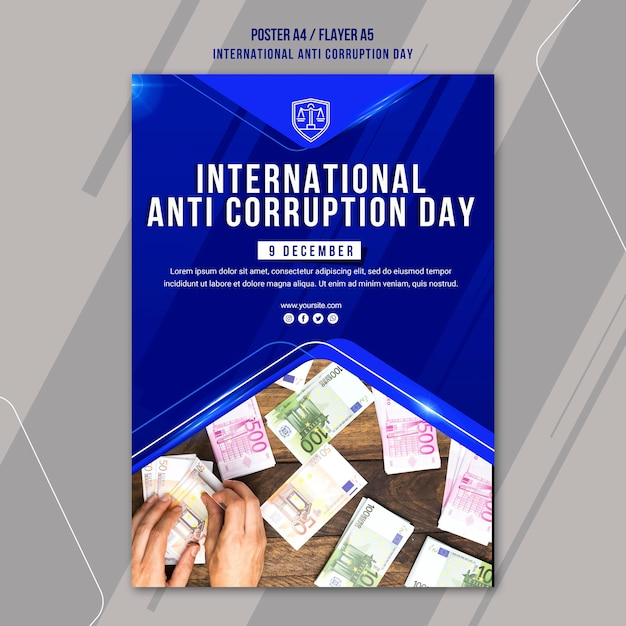 Anti corruption day poster template Free Psd