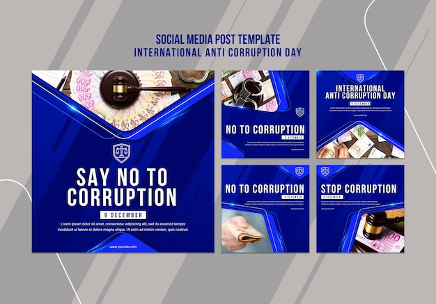 Anti corruption day social media post template Free Psd