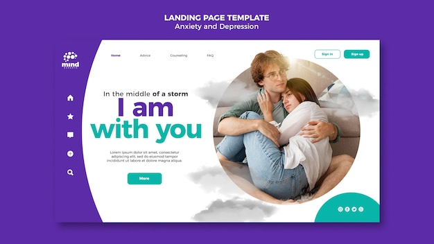 Anxiety and depression template landing page Free Psd