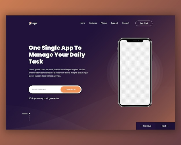 App landing page header Premium Psd