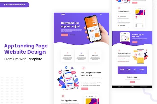 Дизайн веб-сайта целевой страницы приложения Premium Psd