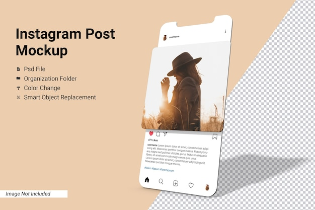 App screen instagram post mockup isolated Premium Psd