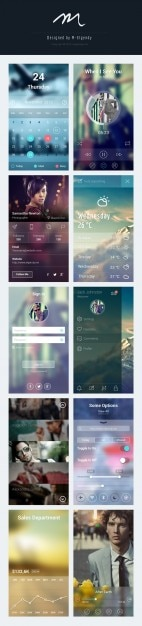 App screens collection for iphone Free Psd