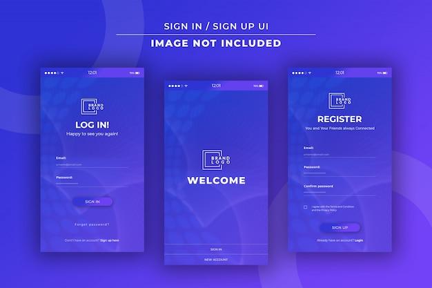 App sign in / sign up ui Premium Psd