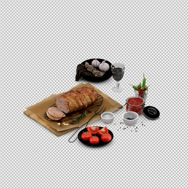 Appetizers of tomato, meat on wooden board with wine glass Premium Psd