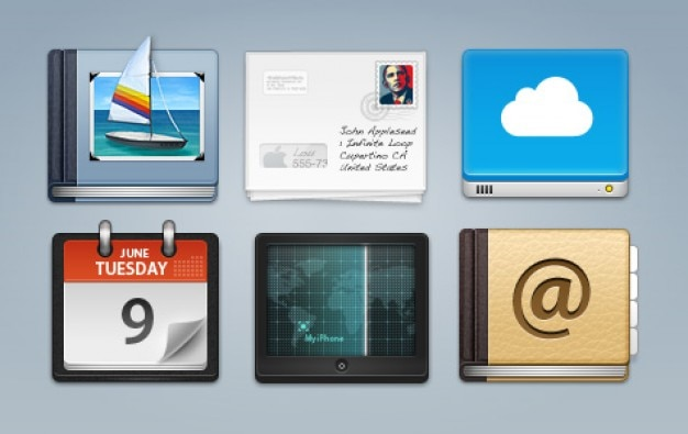 Apple applications icons psd Free Psd