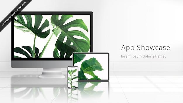 反射型タイル張りの床の白い部屋でのappleデバイスuhdモックアップ(imac、ipad pro、iphone xs) Premium Psd