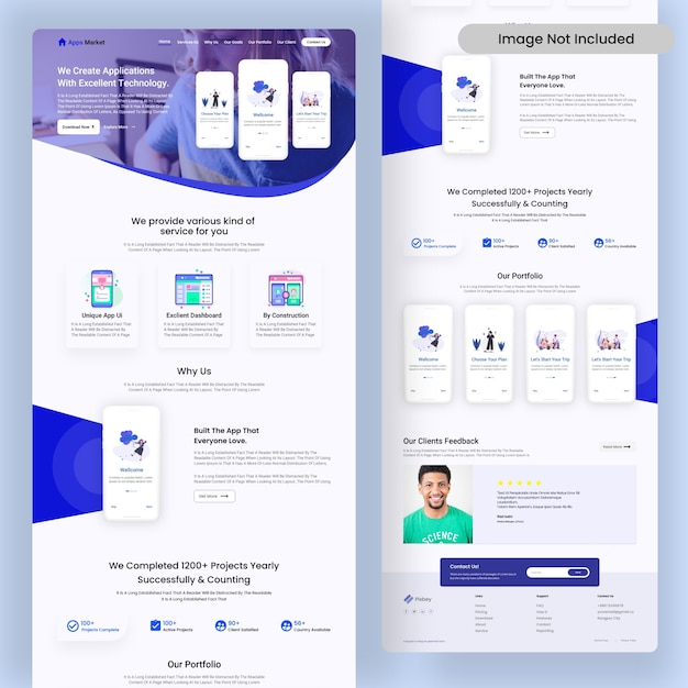 Apps creator online agency landing page Premium Psd | ui design company