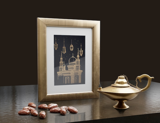 Arabic new year arrangement with dark background Free Psd