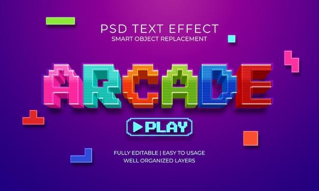 Аркадный игровой текстовый эффект Premium Psd