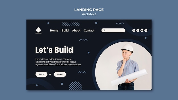 Architect career landing page Free Psd