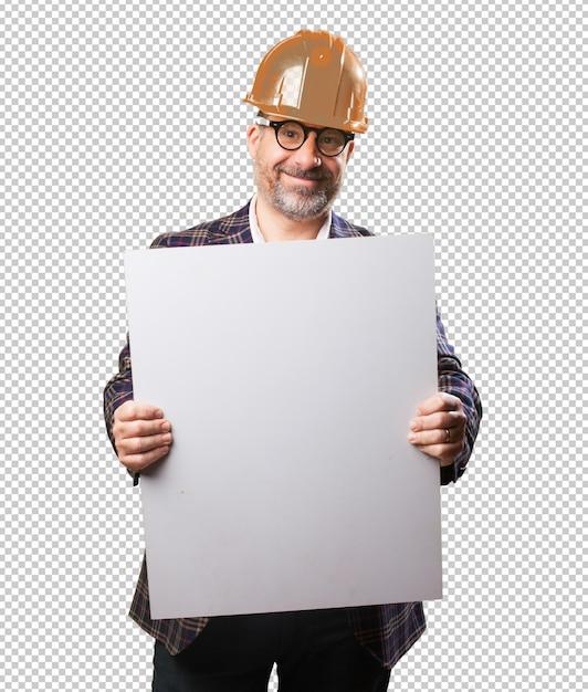 建築家の男、バナーを保持 Premium Psd