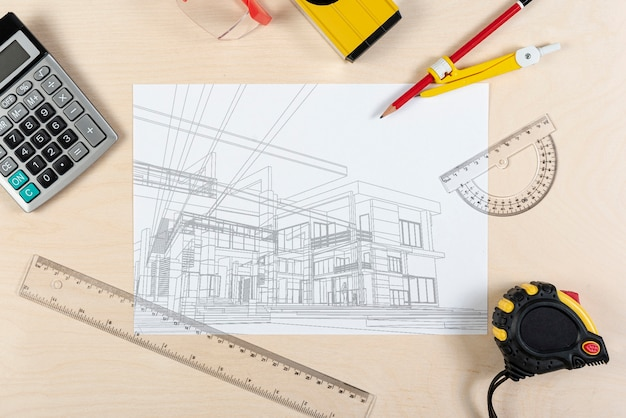 Architect sketch plan of a new building Free Psd