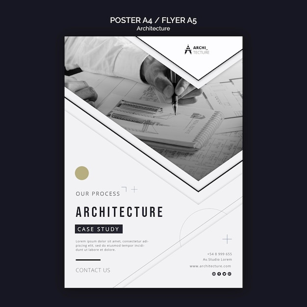 Шаблон флаера концепции архитектуры Бесплатные Psd