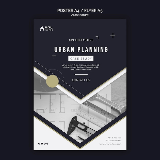 Architecture concept poster template Free Psd